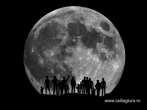The Moon is a stack of about 20 frames. The silhouettes are a drawing of mine.