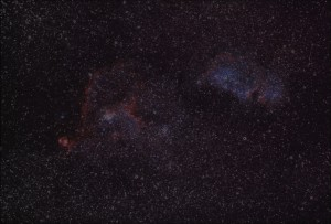 difference of two stacks yielding nebula info, used as a layer during image processing