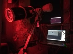the improvised observatory, red LED light for style